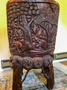 2 Hand Carved Elephant Art Teak Chairs With Stool Thailand Wood Thai Asian