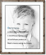 Arttoframes Matted 28x34 Natural Picture Frame With 2 Double Mat, 24x30 Opening