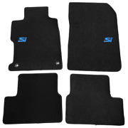 For 12-13 Honda Civic Coupe Black Floor Mats Front Rear Carpet Nylon W/ Si Decal