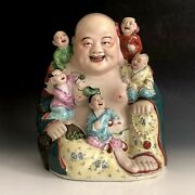 Vintage Chinese Famille Rose Porcelain Laughing Buddha With Children Statue