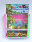 Vintage 1960and039s Animal Beasts Zoo Animals Figures Tiger Ant Eater Mib Hong Kong
