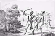 Indian Of Florida - Arrows Incendiary - Engraving From 19th Century
