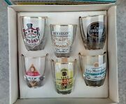 Vintage Drinking Set Decorated Glass Tots Pierre Smirnoff Hennessy Croft Gilbey
