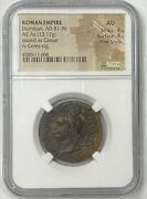 Roman Empire Domitian Ad 81-96 Bronze Ae As Ngc Au Fine Style