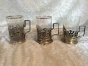 Three Antique Russian Silver Tea Glass Holders And Glass Inserts, Sterling