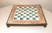 Rare Antique 1800and039s Italian Majolica Pottery Claw Feet Bronze Chess Gaming Board