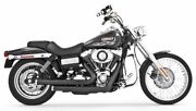 Black Staggered Duals Hp Exhaust By Freedom Chrome Tips Harley Dyna Fxdwg 06-17
