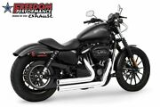 Freedom Independence Shorty Exhaust Chrome W Black Tips Hd00400 Harley Xl 14-17