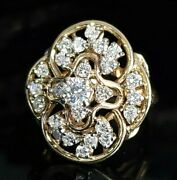 Vintage 1950and039s 14k Yellow Gold 1.25 Carat Si1 G-h Diamond Cluster Cocktail Ring