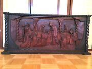 Jesus With Disciples At Communion Antique Wood Relief Carving Italy Circa 1920