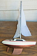 Handcrafted Wooden Model Sail Boat Ship Pond Yacht Racer Vintage Asis Tlc Iq
