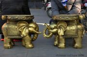 Old Chinese Brass Feng Shui Auspicious Elephant Goldfish Statue Chair Stool Pair