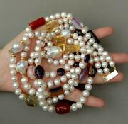 Rows Cultured White Pearl Keshi Pearl Multi Gemstone Necklace 19