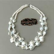 Rows Cultured White Flower Keshi Pearl Necklace 19