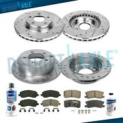 Front 295mm And Rear 302mm Drilled Brake Rotors Pads For Mitsubishi Lancer Brakes