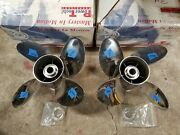 New Pair Of 4 Blade 15 1/4 X 27p Powertech Ofs4 Ss Props Yam F350 3406 3407