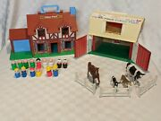 Vintage Fisher Price Little People Play Family Farm And Tudor House W/ Accessories
