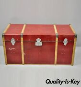 Vintage Wood Tin Metal Wrapped Red Faux Cane Wicker Chest Trunk Box
