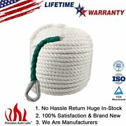 1/2x100and039 Braided Nylon Anchor Rope Twisted Three Strand For Boat 5850 Lbs White