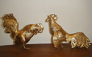 French Import 800 Hanau German Silver Pair Gold Ormolu Roosters Table Ornaments