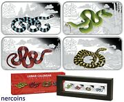 Year Of The Snake Cook Islands 2013 Silver 4 X 1 Proof Coin Set Perfect