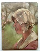 Early 20thc French Nabi Impressionism Portrait Young Woman Circle Paul Serusier