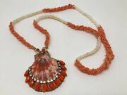 Vtg Salmon White Coral Beads Twisted Rope Necklace W Rhinestone Shell Pendant