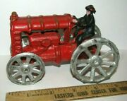 Rare Ford Arcade Type Cast Iron Red Toy Tractor And Driver Vintage Antique