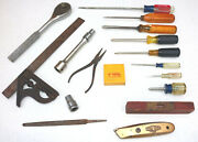 Mixed Lot Old Vintage Tools Penens Craftsman Others Square Screwdrivers Level Jr