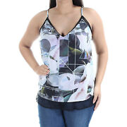 Bar Iii Medium And Large Multi Color Print Lace Trimmed Camisole Blouse Nwt F/s