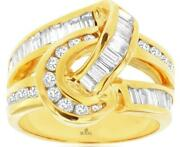 Wide 1.70ct Diamond 14kt Yellow Gold 3d Round And Baguette Love Knot Fun Ring