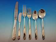 Sweetheart Rose By Lunt Sterling Silver Flatware Set For 12 Service 79 Pieces