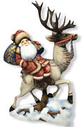 Russian Hand Carved Painted Wooden Wood Santa Claus And Deer 46cm 18.11andrdquo