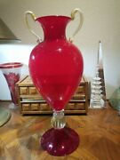 Murano Venetian Ruby Red Footed Glass Vase With Gold Flecks Deco Stunning