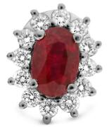 Estate 1.38ct Diamond And Aaa Ruby 18kt White Gold 3d Oval And Round Stud Earrings