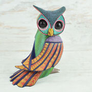 Magia Mexica   A1931 Owl Alebrije Oaxaca Wood Carving Painting Handcraft