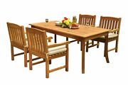 A-grade Teak 5pc Dining 71 Rectangle Table 4 Devon Arm Chairs Set Outdoor Patio