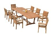 A-grade Teak 9pc Dining 118 Mas Rectangle Table Leveb Stacking Arm Chairs Set