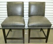Ethan Allen Leather Counter Stools Chairs Thomas Model Pair Nailhead 72-7311