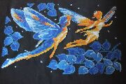 Finished New Completed Cross Stitch Elves Black Blue