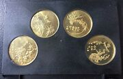 1980 Shanghai Mint Brass Plumorchidbamboo And Chrysanthemum Set Coin Medal