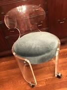 Gorgeous Antique Lucite Stool With Swivel Chrome Wheels And Teal Velvet Seat