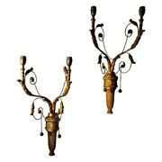Pair Of Giltwood Neoclassical Wall Sconces