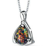 1.00 Ct Pear Cut Black Opal Pendant Necklace In Sterling Silver, 18