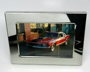 Red 1970 Ford Mustang Mach 1 Chrome Metal Framed Photo Size 4 1/2 X 3