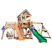 Outdoor Wooden Swing Set Toy Playhouse Playset With Slide Stairs All Cedar New