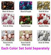 100 Shatterproof Assorted Size Ornament Balls And Hooks Christmas Weddings Parties