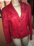 Vintage Bermanand039s Genuine Red Leather Jacket Size 10 Made In Korea