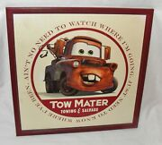 Set Of 2 Diff Pixar Cars Tow Mater Towing And Salvage Metal Ad Signs Used Cond.