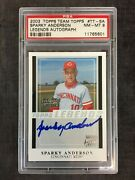 2003 Topps Team Topps Sparky Anderson Reds Legends Autographed Psa 8 Nm-mt